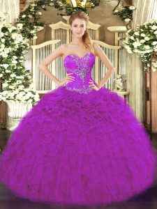 Attractive Sleeveless Organza Floor Length Lace Up Sweet 16 Dress in Fuchsia with Beading and Ruffles