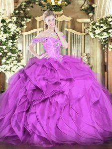 Nice Sleeveless Lace Up Floor Length Beading and Ruffles Quinceanera Gown