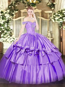 Sleeveless Floor Length Beading and Ruffled Layers Lace Up Vestidos de Quinceanera with Lavender