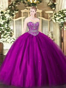 Discount Floor Length Fuchsia Quinceanera Gown Sweetheart Sleeveless Lace Up