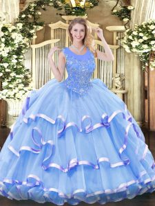 Fancy Organza Sleeveless Floor Length Quince Ball Gowns and Beading and Ruffled Layers