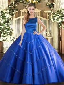Blue Sleeveless Tulle Lace Up Ball Gown Prom Dress for Military Ball and Sweet 16 and Quinceanera