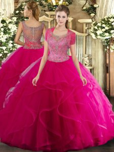 Lovely Tulle Sleeveless Floor Length 15th Birthday Dress and Beading and Ruffled Layers