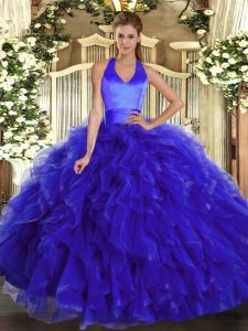 High Quality Royal Blue Halter Top Neckline Ruffles Quinceanera Gown Sleeveless Lace Up