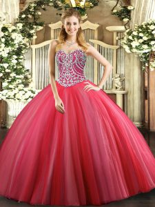 Sweetheart Sleeveless Quince Ball Gowns Floor Length Beading Coral Red Tulle