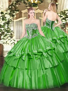 Delicate Green Ball Gowns Strapless Sleeveless Organza and Taffeta Floor Length Lace Up Beading and Ruffled Layers Sweet 16 Quinceanera Dress