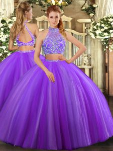 Cute Lavender Sleeveless Beading Floor Length Quince Ball Gowns