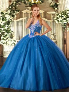Floor Length Lace Up Quinceanera Gown Blue for Military Ball and Sweet 16 and Quinceanera with Beading