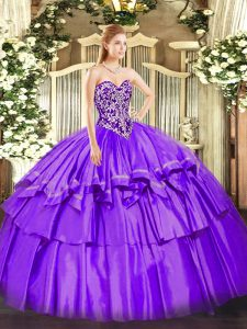 Purple Sleeveless Organza and Taffeta Lace Up Sweet 16 Dress for Military Ball and Sweet 16 and Quinceanera