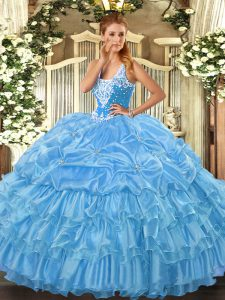 Custom Fit Floor Length Ball Gowns Sleeveless Baby Blue Quince Ball Gowns Lace Up