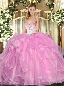 Extravagant Sweetheart Sleeveless Lace Up 15 Quinceanera Dress Rose Pink Organza