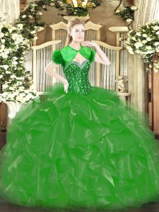 Green Lace Up Quinceanera Dress Beading and Ruffles Sleeveless Floor Length