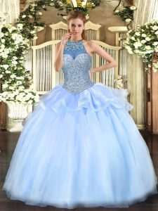 Super Blue Sleeveless Floor Length Beading Lace Up Sweet 16 Dresses