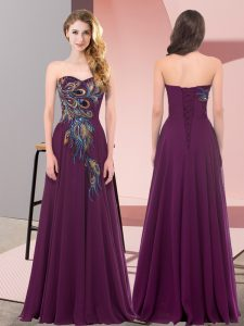 Dramatic Dark Purple Sleeveless Chiffon Lace Up Prom Party Dress for Prom and Party