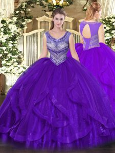 Eggplant Purple Ball Gowns Scoop Sleeveless Organza Floor Length Lace Up Beading and Ruffles 15th Birthday Dress