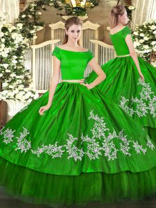 Green Short Sleeves Organza and Taffeta Zipper Quince Ball Gowns for Military Ball and Sweet 16 and Quinceanera