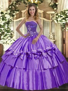 Lavender Strapless Neckline Beading and Ruffled Layers Sweet 16 Dresses Sleeveless Lace Up