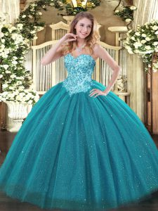 High End Teal Sweetheart Neckline Appliques Sweet 16 Quinceanera Dress Sleeveless Lace Up