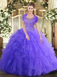 Lavender Sleeveless Floor Length Beading and Ruffled Layers Clasp Handle Quince Ball Gowns