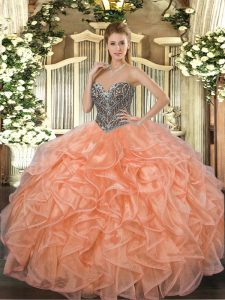 Beading and Ruffles Ball Gown Prom Dress Orange Lace Up Sleeveless Floor Length