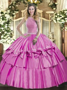 Excellent Lilac Ball Gowns Organza and Taffeta High-neck Sleeveless Beading and Ruffled Layers Floor Length Lace Up 15 Quinceanera Dress