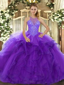 Purple Ball Gowns Beading and Ruffles Sweet 16 Dress Lace Up Organza Sleeveless Floor Length