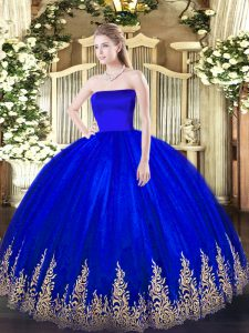 Artistic Blue Ball Gowns Strapless Sleeveless Tulle Floor Length Zipper Appliques Sweet 16 Quinceanera Dress