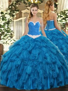 Blue Sleeveless Organza Lace Up 15 Quinceanera Dress for Military Ball and Sweet 16 and Quinceanera