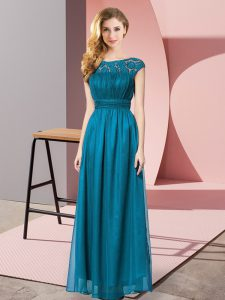 Teal Prom Evening Gown Prom and Party with Lace Scoop Sleeveless Zipper