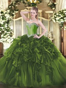 Floor Length Lace Up Quinceanera Dress Olive Green for Military Ball and Sweet 16 and Quinceanera with Beading and Ruffles