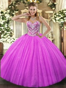 Luxurious Fuchsia Ball Gowns Sweetheart Sleeveless Tulle Floor Length Lace Up Beading Quinceanera Gown