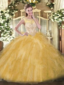 Lovely Scoop Sleeveless Vestidos de Quinceanera Floor Length Beading and Ruffles Gold Organza