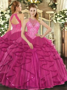 Captivating Sleeveless Lace Up Floor Length Beading and Ruffles Ball Gown Prom Dress
