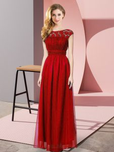 Lovely Wine Red Sleeveless Floor Length Lace Zipper Homecoming Dress