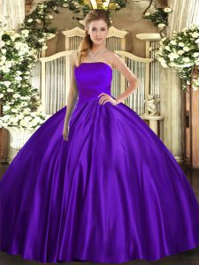 Dazzling Sleeveless Satin Floor Length Lace Up Quinceanera Gown in Purple with Ruching
