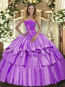 Sleeveless Organza and Taffeta Floor Length Lace Up 15th Birthday Dress in Lavender with Beading and Ruffled Layers