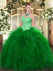 Floor Length Lace Up Quince Ball Gowns Green for Military Ball and Sweet 16 and Quinceanera with Appliques and Ruffles
