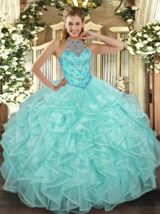 Apple Green Sweet 16 Quinceanera Dress Military Ball and Sweet 16 and Quinceanera with Beading and Ruffles Halter Top Sleeveless Lace Up