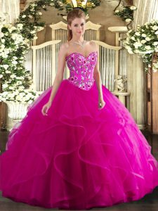 Fuchsia Sleeveless Floor Length Embroidery and Ruffles Lace Up Quinceanera Gowns