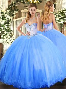 Ideal Baby Blue Ball Gowns Beading Sweet 16 Quinceanera Dress Lace Up Tulle Sleeveless Floor Length