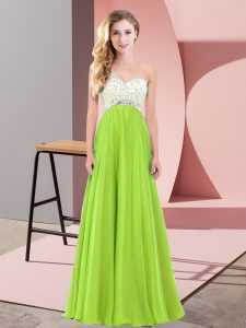 Floor Length Lace Up for Prom and Party with Beading