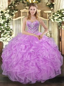 Nice Lilac Tulle Lace Up Sweetheart Sleeveless Floor Length Quinceanera Dresses Beading
