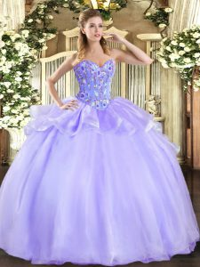 Lavender Ball Gowns Embroidery Quinceanera Gown Lace Up Organza and Tulle Sleeveless Floor Length