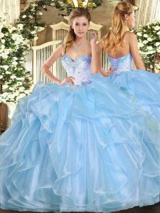 Aqua Blue Organza Lace Up Sweetheart Sleeveless Floor Length Quinceanera Dresses Beading and Ruffles