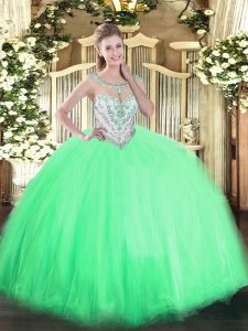 Sleeveless Tulle Floor Length Zipper Quinceanera Dresses in Apple Green with Beading