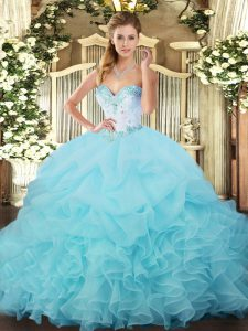 Aqua Blue Ball Gowns Organza Sweetheart Sleeveless Beading and Ruffles and Pick Ups Floor Length Lace Up Sweet 16 Dresses