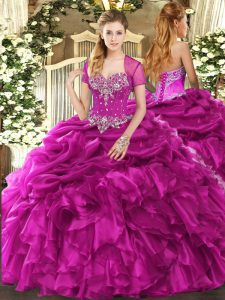 Sweetheart Sleeveless Quinceanera Gown Floor Length Beading and Ruffles and Pick Ups Fuchsia Organza