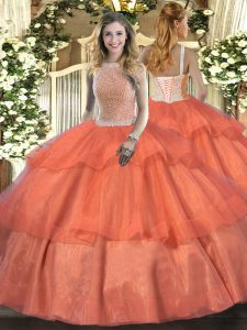 Orange Red Ball Gowns Tulle High-neck Sleeveless Beading and Ruffled Layers Floor Length Lace Up Sweet 16 Dresses