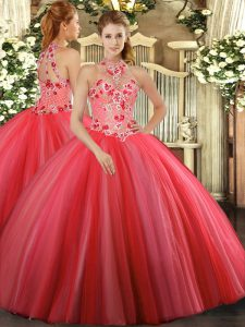 Popular Floor Length Coral Red Quince Ball Gowns Tulle Sleeveless Embroidery