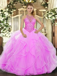 Ball Gowns Ball Gown Prom Dress Rose Pink High-neck Organza Sleeveless Floor Length Lace Up